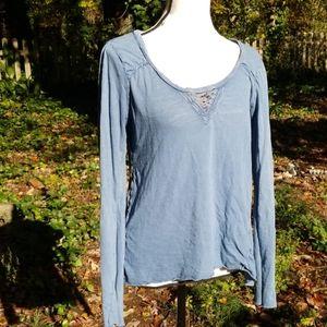 Free People blue embellished Tshirt Large